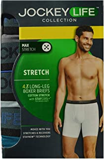 f1a983020157 Jockey Life Men's 4-Pack Cotton Stretch Long-Leg Boxer Briefs - Assorted  Colors