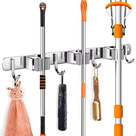 Bosszi Broom Holder Mop Holder Gardening Tools Organizer SUS 304 Stainless Steel Brushed /& Non-Slip Silicone Self-Adhesive Mounted Storage Racks with 3 Positions /& 4 Hooks Holds Up to 7 Tools Firmly