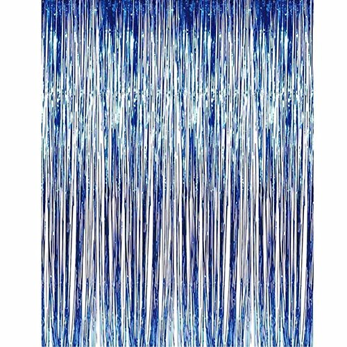 Manda Stell Roségold glänzender Fransenvorhang Wand Tür Zimmer Dekoration Geburtstag Hochzeit Party, 0, blau