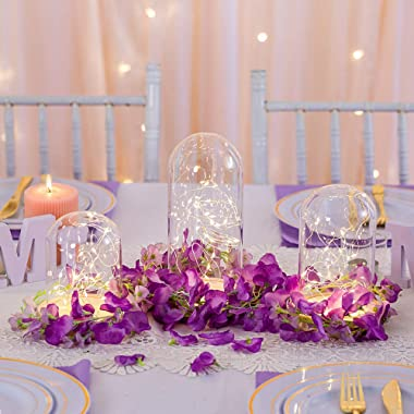 3 Pcs/Set Clear Glass Dome Cloche with Rustic Wood Base, Battery Operated LED Fairy Light Antique Display Case for Rose Flowe