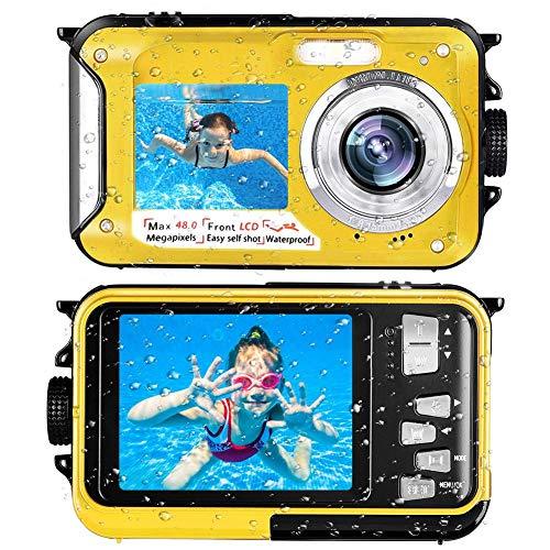 Waterproof Camera Underwater Camera Full HD 2.7K 48 MP Camera Selfie Dual Screens Point and Shoot Camera Selfie Dual Screen Waterproof Camera for Snorkeling