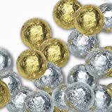Madelaine Premium Christmas Solid Milk Chocolate Balls - Individually Wrapped in Gold and Silver Italian Foils - Holiday Candy (1 LB)