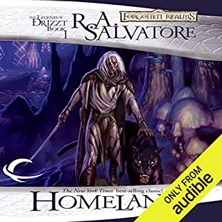 Homeland     Legend of Drizzt: Dark Elf Trilogy, Book 1              Written by:                                                                                                                                 R. A. Salvatore                               Narrated by:                                                                                                                                 Victor Bevine                      Length: 10 hrs and 48 mins     98 ratings     Overall 4.7