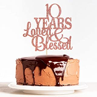 WeBenison 10 Years Blessed & Loved Cake Topper 10th Birthday Cake Topper Marriage Anniversary Birthday Party Decoration Su...