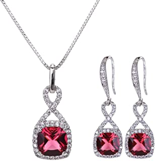 Crystal Jewelry Set for Women - Sterling Silver Square Cubic Zirconia CZ Bridal Pendant Necklace Earrings Set for Wedding Bride Bridesmaids Birthstone Fashion Jewelry Set