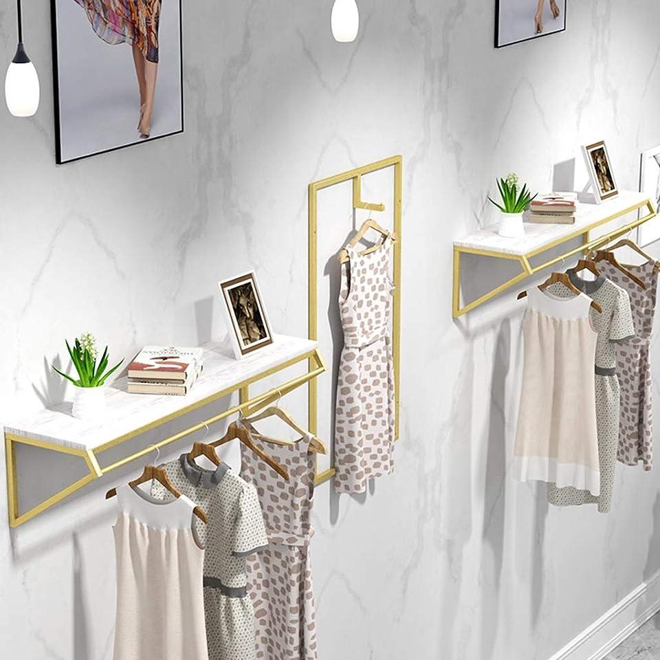 マイコン人種アトラスウォールシェルフは ウォールフレーム1層オープン壁掛けメタル衣類ディスプレイ収納ラック簡単収納と複数収納方法ゴールド100×30×30cm GHMOZ