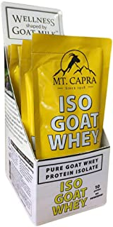 MT. CAPRA SINCE 1928 ISO-GOAT WHEY | Pure Goat Whey Protein Isolate, High in BCAA, High in Leucine, Non GMO, No Hormones, Gluten Free, Unsweetened - 10 Packets