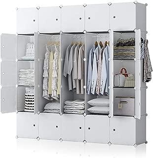 YOZO Modular Closet Organization Dresser Kids Teenagers Plastic Wardrobe Portable Cube Storage Shelf Bookshelf Toy Organizer Cabinet Dresser, 25 Cubes, Depth 14 inches, White