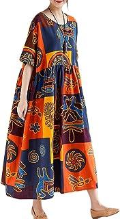 Women Vintage Loose Dress Contrast Color Print Half...
