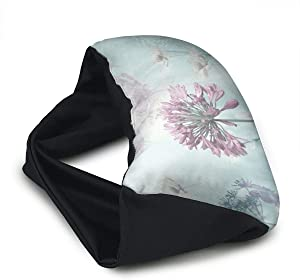Voyage Travel Pillow Eye Mask 2 in 1 Portable Neck Support Scarf Flowers Paint Ergonomic Naps Rest Pillows Sleeper Versatile for Airplanes Car Train Bus Home Office