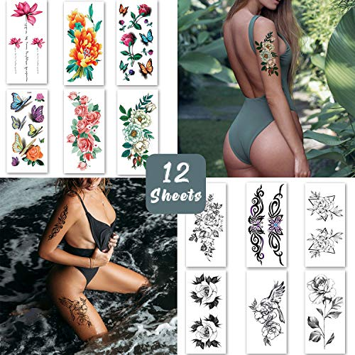 Temporary Tattoos for Women, Realistic Sexy Arm Tattoo Stickers for Adults Girls, Large Fake Tattoos Body Art Makeup with Flower Rose Butterfly - 12 Sheets