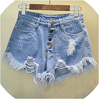 Vintage Ripped Hole Fringe 6 Color Denim Shorts Women Casual Pocket Jeans Shorts Summer