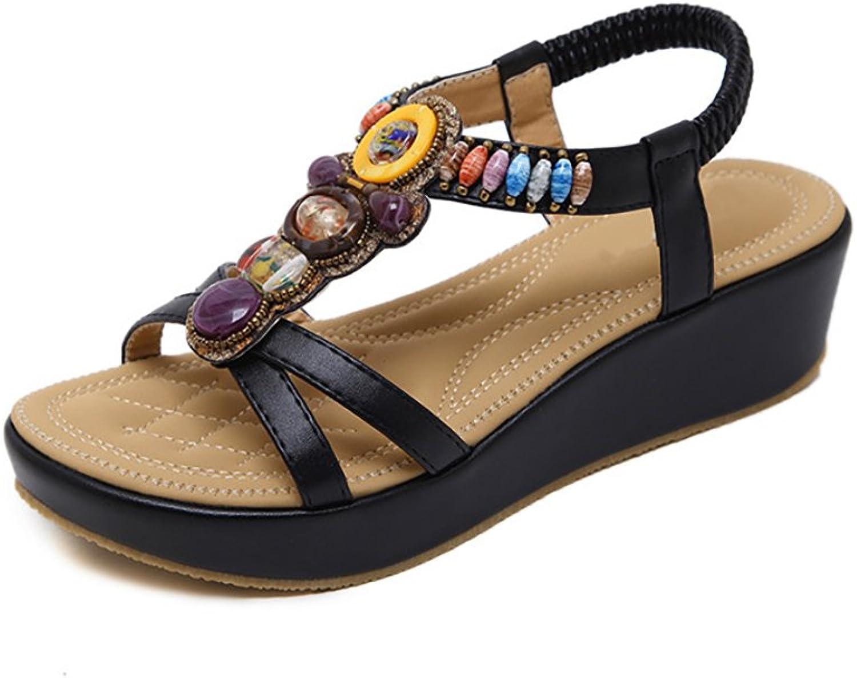 Dreneco Women Bohemian Beeded Sandals,Summer Wedge shoes for Ladies