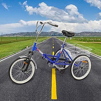 PEXMOR Foldable Adult Tricycle, 20 in Single Speed Three-Wheels Trike Bike Cruiser with Large Basket for Man Women Seniors Biking Adventures, Recreation, Shopping, Exercise, Walking The Dog