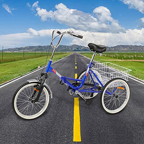 PEXMOR Foldable Adult Tricycle, 20 in Single Speed Three-Wheels Trike Bike Cruiser with Large Basket for Man Women Seniors Biking Adventures, Recreation, Shopping, Exercise, Walking The Dog