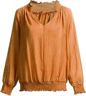 Pongfunsy Womens Long Sleeve V-Neck Casual Tops Smocked Peasant Blouse Lantern Long Sleeve Loose Shirts