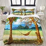 1203 - Juego de ropa de cama (microfibra ligera, muy cómodo), diseño de palmeras tropicales