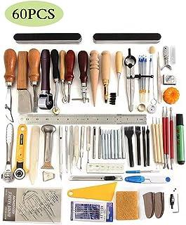 JFZS 60PCS Kit De Gravure sur Cuir Outils Et Fournitures en Cuir Fournitures De Kits De Travail en Cuir pour Couture Poinç...