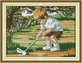 Joy Sunday Cross Stitch Kits,Figure Style,The Future of Golf,14CT Stamped, 43cm×33cm or 16.77