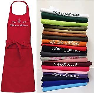 Tablier coton personnalisé et brodé avec un prénom, texte, TOP QUALITE, 20 coloris, 20 motifs, cuisine top chef, cadeau pe...