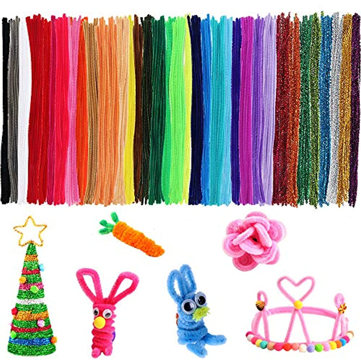 Outuxed 800 Chenille Stems Pipe Cleaners in 40 Assorted Colors (10 Shiny Colors), for DIY Arts and Craft Projects and Decorations (6mm x 12 Inches) fbn224471033253