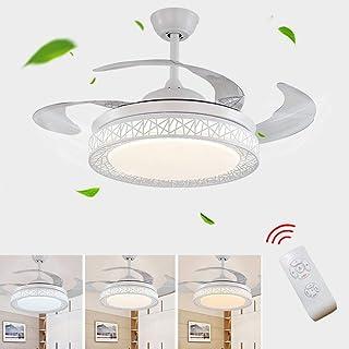 Ventiladores para el techo con lámpara, luz de techo LED de 36W, ala plegable invisible creativa moderna regulable con control remoto 3 velocidades de viento ajustables ajuste de tiempo inteligente
