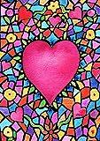 Toland Home Garden Kaleidoscope Heart 28 x 40 Inch Decorative Colorful Valentine Mosaic House Flag - 1010785
