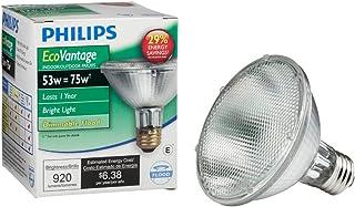 Philips Halogen Dimmable PAR30S Flood Light Bulb: 2860-Kelvin, 53-Watt (75-Watt Equivalent), Bright White, E26 Medium Scre...