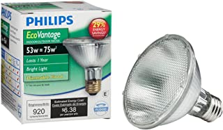 Philips Halogen Dimmable PAR30S Flood Light Bulb: 2860-Kelvin, 53-Watt (75-Watt Equivalent), Bright White, E26 Medium Screw Base