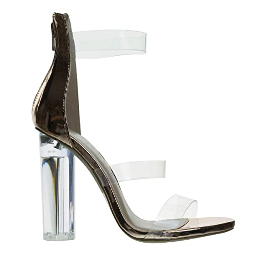 2b62d66eb5a2 Wild Diva Perspex Round Block Heel Sandal w Clear Triple Strap.  Transparence Lucite