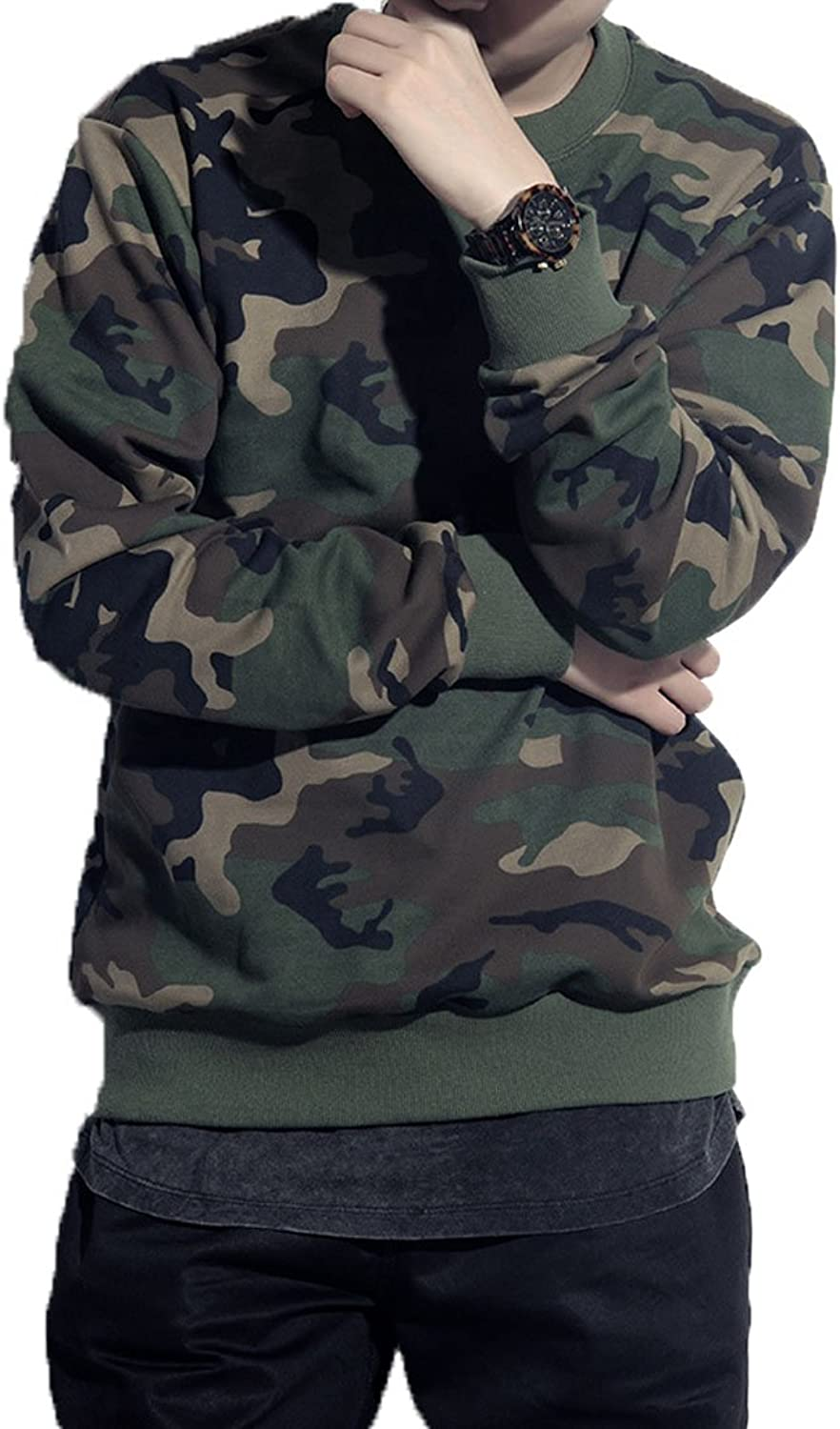 Teamoluna Camouflage Long Sleeve ONeck Shirt Sweater