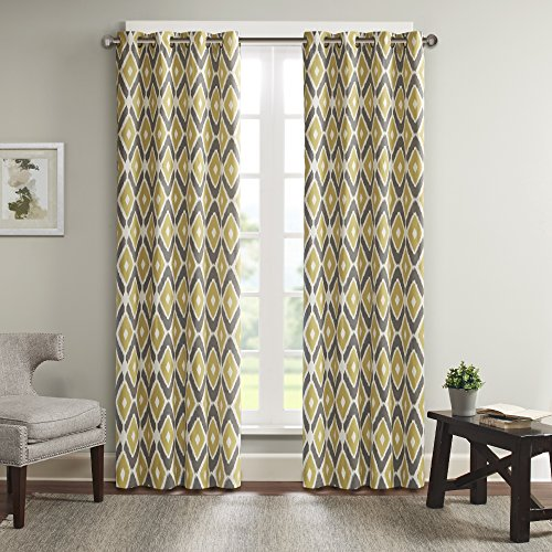 Madison Park MP40-2246 Ashlin Diamond Printed Patio Curtain 100x84 Yellow, 100 x 84