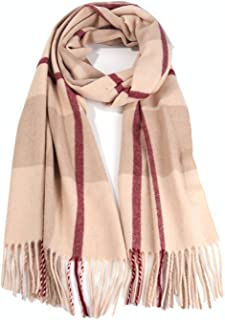 Runtlly Men's Winter Cashmere Scarf Stripes Warm Soft Scarves with Tassel Luxurious Winter Scarf For Men Women