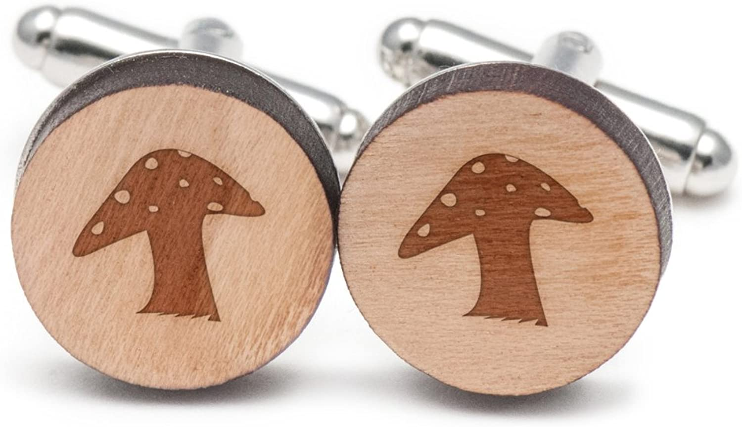 Red Mushroom Cufflinks, Wood Cufflinks Hand Made in the the the USA d34a0c
