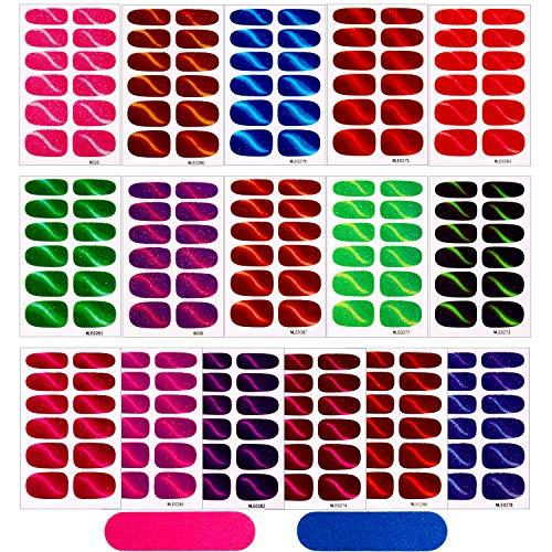 16 Blätter Glitter Katzen Auge Nagelaufkleber Voll Verpackung Nagellackaufkleber Klebende Nagelaufkleber Nagel Kunst Aufkleber Streifen mit 2 Stück Nagelfeilen