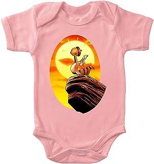 OKIWOKI Ice Age Lustiges Rosa Kurzärmeliger Baby-Bodysuit Mädchen - Scrat und Der König der Löwen Ice Age Parodie signiert Hochwertiges Baby-Bodysuit - Ref : 932