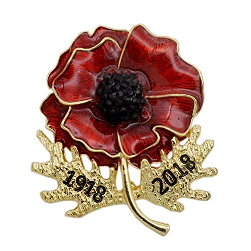 dcc2fba70 Poppy Brooches Remembrance Sunday Red Flower Rhinestone Silver Badges  Banquet Enamel Poppy Lapel Pin