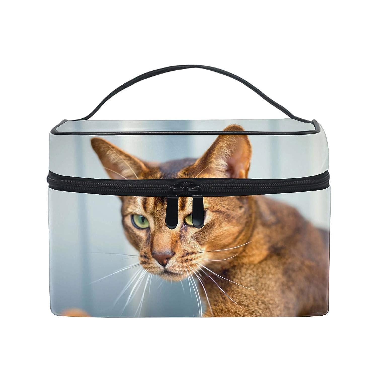 ユニークな介入する共産主義者収納ポーチ 通勤 出張 旅行 大容量 アビシニアン猫のぼかし軽量 携帯 便利