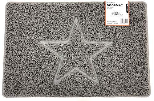 Nicoman Estrella Felpudo Logotipo en Relieve Rizos de Vinilo Entrada Bienvenido Lavable Alfombra-(Usar en Interiores y Exteriores), Pequeño (60x40cm), Gris