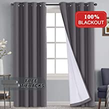 100% Blackout Curtains for Bedroom, Thermal Insulated Waterproof Window Treatment Panels 84 Inches Long With Tie Backs Grommet Window Drapes For Living Room, Grey with White Liner 2 Panels, 52 x 84