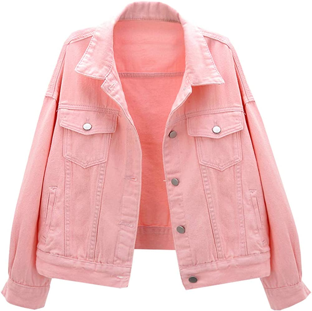 LifeShe Women's Basic Button Down Denim Jean Jacket Coat