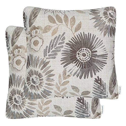 Mika Home Pack of 2 Decorative Throw Pillows Cases Cushion Cover for Sofa Couch Bed,Sunflower Pattern,20x20 Inches,Grey Cream