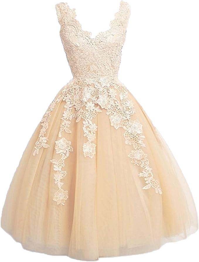 Carnivalprom Damen Tull Abendkleider Kurz Elegant V Ausschnitt Ballkleider Partykleider Mit Applikationen Amazon De Bekleidung