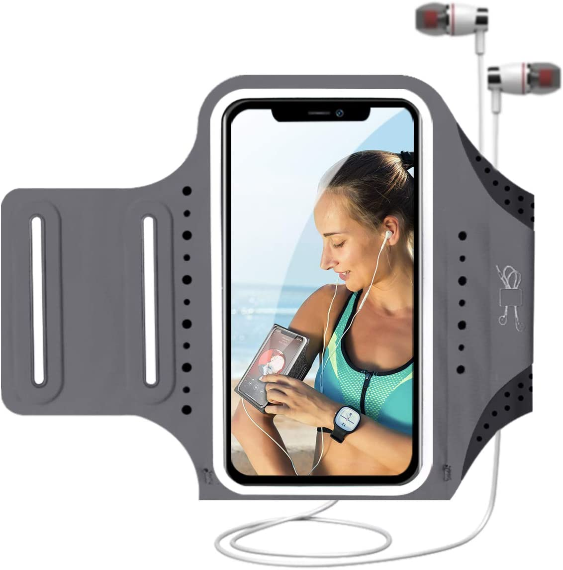 MILPROX Cell Phone Armband, Universal Waterproof Phone Arm Holder with Adjustable Elastic Band & Card Holder Fits for All Phones up to 6.5 Inches (iPhone, Samsung, LG, Pixel) for Gym, Hiking - Gray
