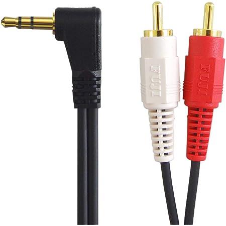 [フジパーツ]オーディオケーブル L型 3.5mm ステレオミニプラグ-ピンプラグ×2 (赤・白) 1m FVC-323L-1m