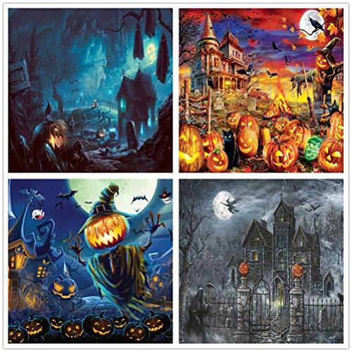 Sllowwa 1000 Puzzle Teile Kürbis Print Halloweendeko Großes Stück Adult Children Holiday Geschenkmuster Spielzeug (Kürbis+Schloss+Zimmer+Geist)