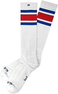 Allstars Hi - Calcetines altos retro con rayas blancas y azules y rojas a la rodilla unisex
