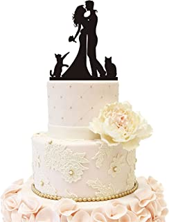 Wedding Anniverary Family Cake Topper couple Bride Groom with 2 Cats (Black))
