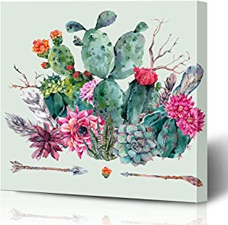 Ahawoso Canvas Prints Wall Art Printing 16x16 Green Floral Hand Exotic Natural Vintage Watercolor Bouquet Nature Cactus Mexican Pattern Mexico Painting Artwork Home Living Room Office Bedroom Dorm
