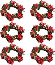 Amosfun 6Pcs Candle Ring Christmas Ornaments Tea Leaf Candle Ring Napkin Rings Home Party Halloween Christmas Wedding